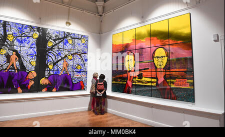 Brighton UK 9th May 2018 - Visitors enjoy the Gilbert & George exhibition at Brighton Museum and Art Gallery which is showing until September  . - Stock Photo