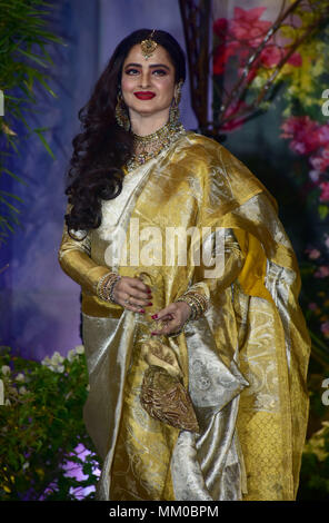Mumbai, India. 8th May, 2018. Indian film actress Rekha attend the wedding reception of actress Sonam Kapoor and Anand Ahuja at hotel Leela in Mumbai. Credit: Azhar Khan/SOPA Images/ZUMA Wire/Alamy Live News - Stock Photo
