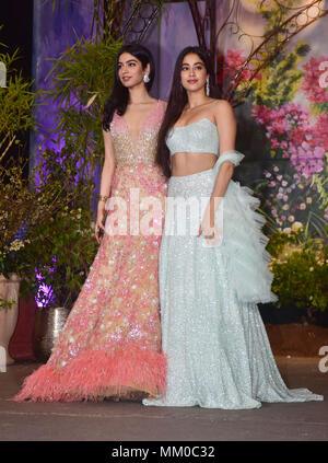 Mumbai, India. 8th May, 2018. Khushi Kapoor and Janhvi Kapoor attend the wedding reception of actress Sonam Kapoor and Anand Ahuja at hotel Leela in Mumbai. Credit: Azhar Khan/SOPA Images/ZUMA Wire/Alamy Live News - Stock Photo