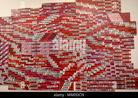 Cracow, Poland - May 8, 2018: Exibition Motherland in Art at Mocak in Krakow. Pawel Susid - Untilited. The artist has created a collage of associations related to Poland, complited from slogans, names, organisations and bon mots Credit: Wieslaw Jarek/Alamy Live News - Stock Photo