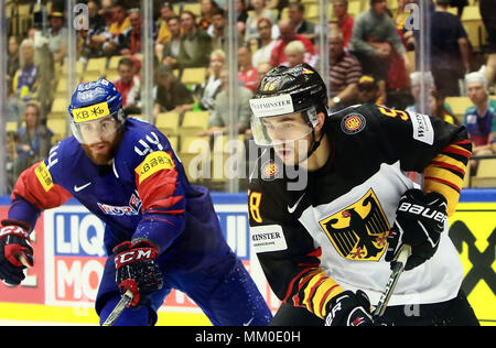 May 9, 2018 - Herning, Denmark - from left Alex PLANTE (KOR), Marcus EISENSCHMID (GER), .May 09, 2018, Ice Hockey World Championship 2018,Germany vs Korea, Jyske Bank Boxen, Herning/Denmark, (Credit Image: © Wolfgang Fehrmann via ZUMA Wire) - Stock Photo