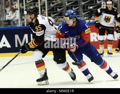 May 9, 2018 - Herning, Denmark - from left Frederik TRIFFELS (GER), Jin PARK (KOR), .May 09, 2018, Ice Hockey World Championship 2018,Germany vs Korea, Jyske Bank Boxen, Herning/Denmark, (Credit Image: © Wolfgang Fehrmann via ZUMA Wire) - Stock Photo