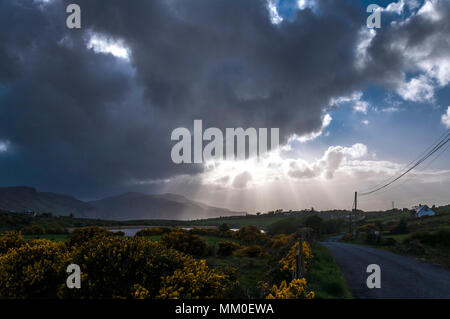 Ardara, County Donegal, Ireland  weather. 9th May 2018. Stormclouds move across the landscape in the evening after a day of high winds and heavy rainfall on Ireland's west coast. Credit: Richard Wayman/Alamy Live News - Stock Photo