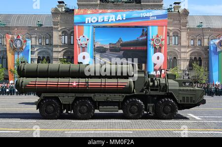 Russian S-400 Triumf anti-aircraft weapon systems pass the review stand during the military parade on the 73rd Victory Day marking the end of World War II in Red Square May 9, 2018 in Moscow, Russia.  (Russian Presidency via Planetpix) - Stock Photo