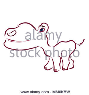Funny cheerful baby dinosaur with a big head - Stock Photo