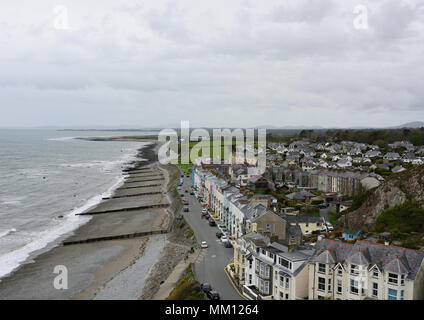 Aerial view of  Criccieth in Cardigan bay north wales - Stock Photo