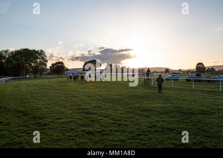 Ludlow racecourse in Shropshire, England. Start of an early evening mid week race in Spring. - Stock Photo