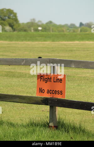 British Military Heritage - Flight Line, No Acess sign, adjacent to the airfield at Stow Maries Great War Aerodrome, Purleigh, Essex - Stock Photo