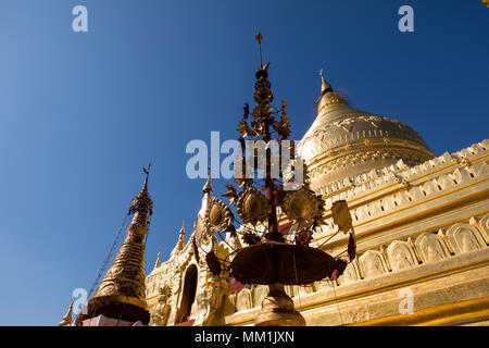 The Shwezigon Pagoda or Shwezigon Paya is a Buddhist temple located in Nyaung-U, a town near Bagan, in Myanmar - Stock Photo