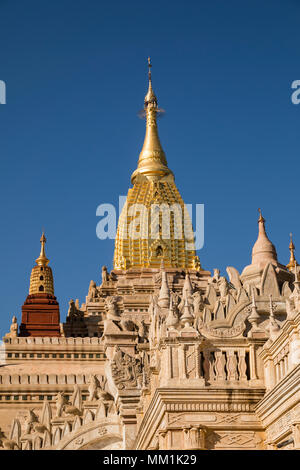 Newly renovated Ananda Temple in Old Bagan, Myanmar. The Buddhist temple houses four standing Buddhas - Stock Photo