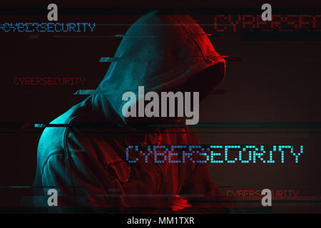 Cybersecurity concept with faceless hooded male person, low key red and blue lit image and digital glitch effect
