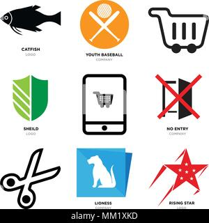 Set Of 9 simple editable icons such as rising star, lioness, Scissors, no entry, On, sheild, Shopping, youth baseball, catfish, can be used for mobile - Stock Photo