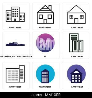 Set Of 9 simple editable icons such as Apartment, M, Apartments, city buildings sky, can be used for mobile, web - Stock Photo