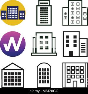 Set Of 9 simple editable icons such as Apartment, W, can be used for mobile, web - Stock Photo