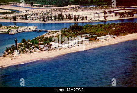 Hillsboro Inlet and Lighthouse. Pompano Beach. 1960 - Stock Photo