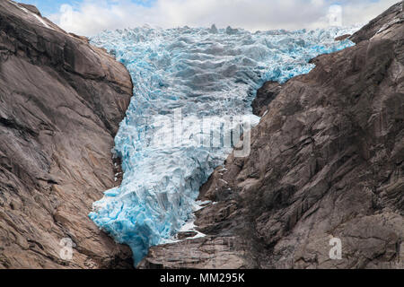 Ice front of the Briksdalsbreen Glacier in 2017, Jostedalsbreen National Park, Norway. - Stock Photo
