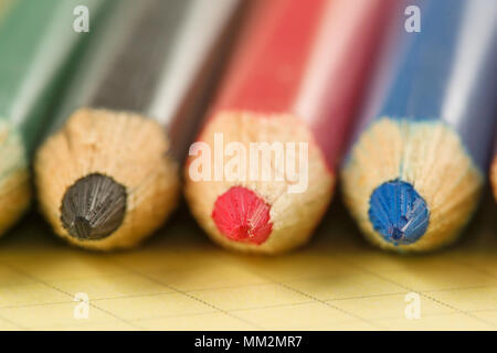 many sharp sharpened colored pencils close-up on the background - Stock Photo