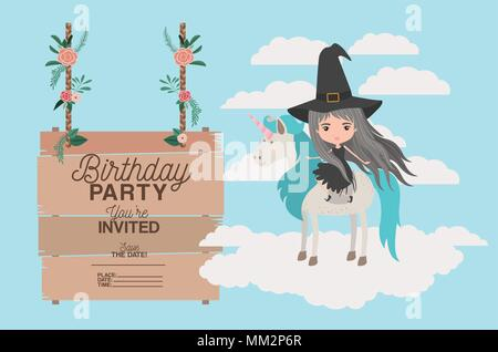 invited birthday party card with unicorn and witch - Stock Photo