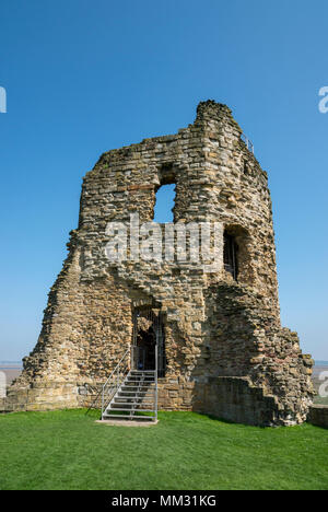 Ruins of Flint Castle beside the river Dee in Flintshire, North Wales. Steps leading into the North East tower. - Stock Photo