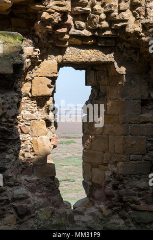 Ruins of Flint Castle beside the river Dee in Flintshire, North Wales. Window in the North East tower. - Stock Photo