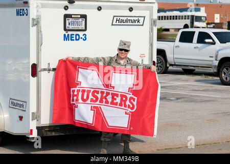The Nebraska National Guard has deployed a 44-person medical team to Texas, Sept. 2, 2017, in support of ongoing relief efforts following Hurricane Harvey. The deployment is primarily made up of Airmen from the Nebraska Air National Guard 155th Medical Group. Several Nebraska Army National Guard medical professionals are also involved with the mission. The deployed personnel include medical providers, nurses, emergency medical technicians and other medical professionals. (Nebraska National Guard photo by Spc. Lisa Crawford) - Stock Photo