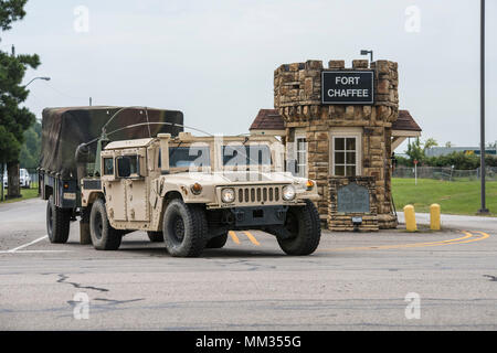 Arkansas National Guard Soldiers of the 142nd Field Artillery Brigade depart in response of Hurricane Harvey September, 2 2017 at Fort Chaffee, Fort Smith, Ark. The soldiers will be working alongside civil authorities as part of an integrated Federal/ state/ local response to the storm. (U.S. National Guard photo by Senior Airman Matthew Matlock) - Stock Photo