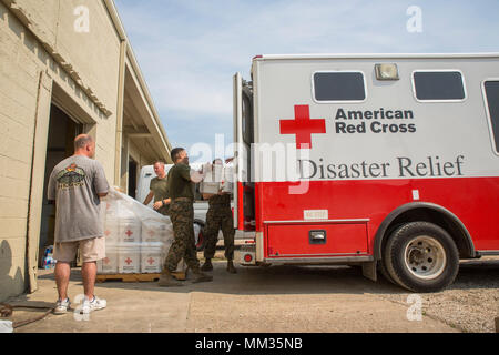 BEAUMONT, Texas – Marines from 14th Marine Regiment, 4th Marine Division, Marine Forces Reserve, and Marine Wing Support Squadron 473, 4th Marine Aircraft Wing, MARFORRES, load buckets of Red Cross cleaning supplies onto an American Red Cross Disaster Relief Van at Red Cross warehouse in Beaumont, Texas, Sept. 3, 2017. The Marines assisted the Red Cross by transporting supplies from the Red Cross warehouse to families in Orange, Texas, affected by Hurricane Harvey. (U.S. Marine Corps photo by Lance Cpl. Niles Lee/Released) - Stock Photo