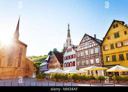 Market Square of Esslingen and spire of Church of Our Lady Frauenkirche in the distance, Germany, Europe - Stock Photo