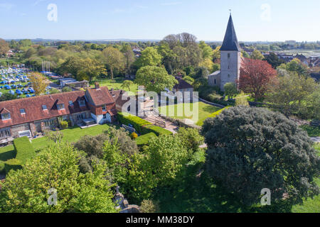 aerial views of bosham and the anglo saxon holy trinity church  in chichester harbour area of west sussex - Stock Photo