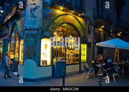 Pastisseria Escriba, La Rambla, Barcelona, Catalonia, Spain - Stock Photo