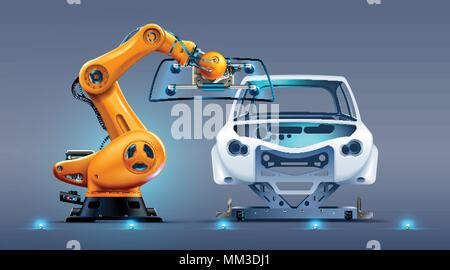robot arm work on car factory or manufacturing line. Robotic hand attaches windshield or glass on car body. Industrial automation production automobil - Stock Photo