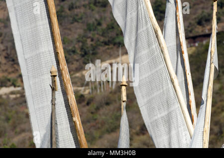 White prayer flags, Trongsa, Bhutan - Stock Photo