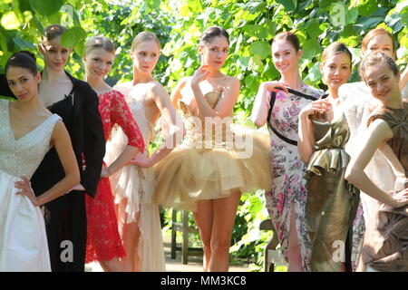 UK - English National Ballet Stars Model High Fashion Couture - Ballerinas pose in special tutus created by top fashion designers including Erdem, Agent Provocateur, Giles Deacon and Moschino. The tutus are to be auctioned at the ballet company's first Summer Fundraising Party on June 29. 19 May 2011  --- Image by © Paul Cunningham - Stock Photo