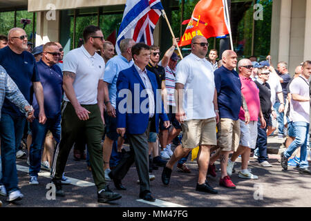 New UKIP leader Gerard Batten takes part in a march from Hyde Park to Whitehall to attend a freedom of speech rally, London, UK - Stock Photo