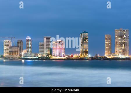 Skyline of La Peninsula from Cavancha Beach, Iquique, Chile - Stock Photo