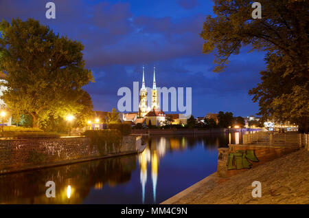 The Cathedral of St. John the Baptist and the Oder river at Ostrow Tumski. Wroclaw, Poland - Stock Photo