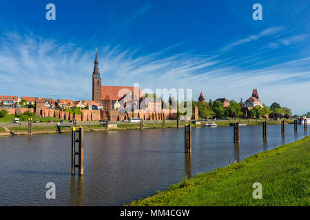 Tangermünde cityscape, view from Elbe river dike - Stock Photo