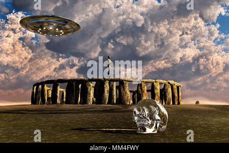 Crystal Skull and Ancient Aliens. - Stock Photo