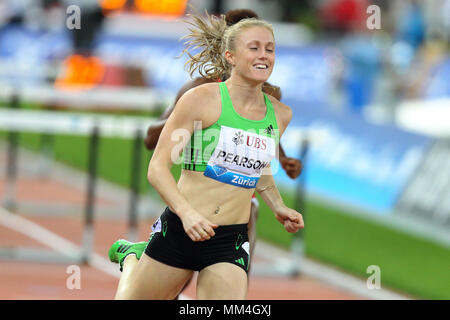 Zurich, Switzerland. 08th, Sep 2011. Australian's Sally Person compete in the final of the Women's 100m hurdle during the IAFF Diamond League Meeting  - Stock Photo