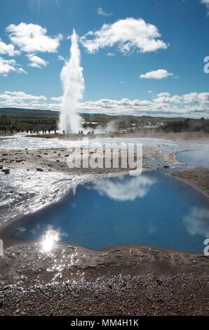 Geyser Eruption Iceland - Stock Photo