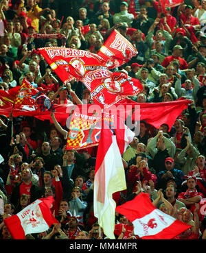 Football: Westfalenstadion Dortmund Germany 16.5.2001, UEFA Cup Season 2000/2001 Final Liverpool FC vs Deportivo Alaves 5:4 after golden goal extra time ---  Liverpool supporters - Stock Photo