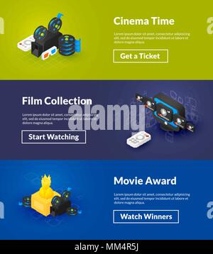 Cinema time film collection and movie award banners of isometric color design - Stock Photo