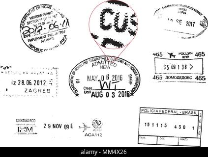 Vector Grunge Passport Stamps (all shapes are editable stroke lines) - Stock Photo