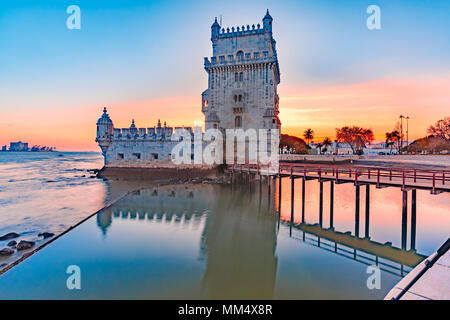 Belem Tower in Lisbon at sunset, Portugal - Stock Photo