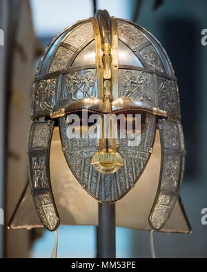 London. England. British Museum. A Replica of the Sutton Hoo Helmet made by the Royal Armouries.  The Sutton Hoo ship burial in Suffolk, England, exca - Stock Photo