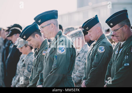 Col. Robert Kilgore, commander of the 107th Attack Wing, Niagara Falls Air Reserve Station, New York Air National Guard, and Col. Gary Charlton, vice commander of the 107th, attend a ceremony remembering the attacks of Sept. 11, Niagara Falls, N.Y., Sept. 11, 2017. The 107th ATKW and the 914th Air Refueling Wing here, came together to honor those who lost their life that day. (U.S. Air National Guard photo by Staff Sgt. Ryan Campbell) - Stock Photo