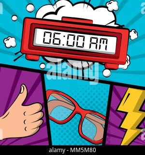 comic pop art alarm clock glasses and hand like vector illustration - Stock Photo