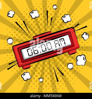 comic pop art alarm clock digital yellow sunburst background vector illustration - Stock Photo