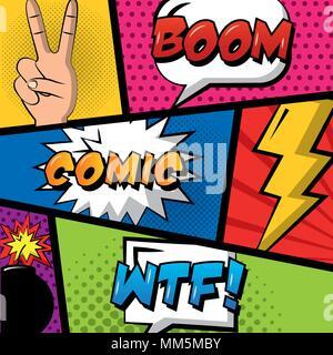 comic pop art background speech bubbles hand peace love boom vector illustration - Stock Photo