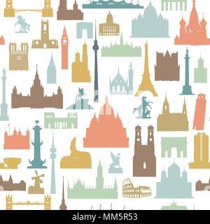 Travel world landmarks seamless pattern. Travel sight icon tile background - Stock Photo